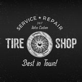 Vintage tire shop label design. Garage repair poster. Retro monochrome design. Good for tyre store, repair workshop Royalty Free Stock Image