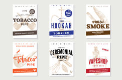 Vintage Tobacco Advertising Posters. With hand drawn smoking pipes cigars hookah and electronic cigarette vector illustration Stock Photo