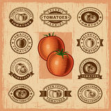 Vintage tomato stamps set Stock Images