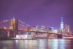 Vintage Tone Brooklyn Bridge NYC Stock Photography