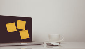 Vintage tone of business scene with yellow note. On screen royalty free stock images