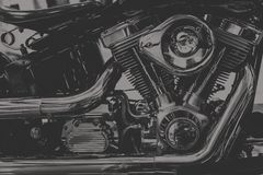 Vintage tone of chopper motorcycle engine royalty free stock photography