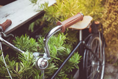 Vintage tone of Detail of a Vintage Bike Handle Bar stock photography