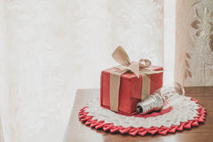 Free Vintage Tone, Gift Box With Light Bulb On Wooden Table Stock Photo - 61436980