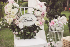 Vintage tone of Wedding chair royalty free stock photography