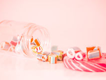 Vintage tone. You can see smiley face candy cane in glass jar Royalty Free Stock Photos