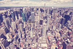 Vintage toned aerial picture of New York skyline, USA. Stock Photo