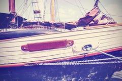 Vintage toned boat side. Stock Image