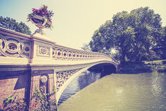 Vintage toned bridge in Central Park, New York. Stock Photography