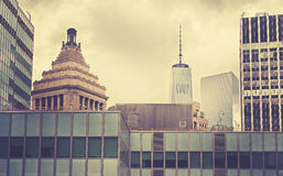 Vintage toned buildings in Manhattan, New York Royalty Free Stock Photography