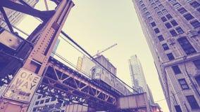 Vintage toned Chicago subway train, USA. Stock Photos