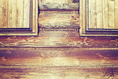 Vintage toned close up of a mountain cabin wooden wall. Stock Photography