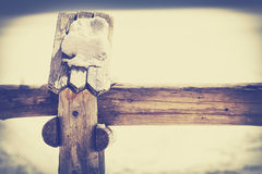 Vintage toned close up picture of a wooden fence detail. Royalty Free Stock Image