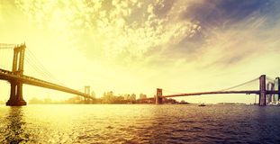 Vintage toned dramatic sunset over New York, USA. Royalty Free Stock Photography