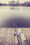 Vintage toned fishing equipment. Stock Images
