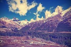 Vintage toned Fitz Roy Mountain Range Stock Photo