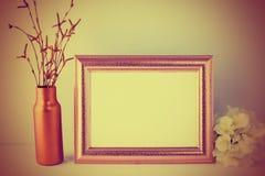 Vintage toned landscape gold frame mockup Royalty Free Stock Image