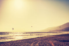 Vintage toned Malibu beach at sunset, USA.  Stock Photos