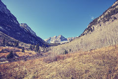 Vintage toned Maroon Bells mountain landscape. Stock Photography