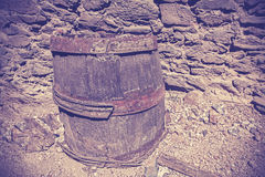 Vintage toned old wooden barrel cask. Stock Image