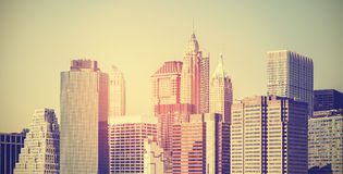 Vintage toned panoramic picture of Manhattan at sunset, USA. Royalty Free Stock Image