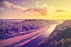 Vintage toned photo of Elbe river at sunset, Stock Photos