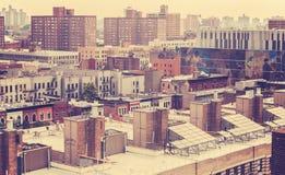 Vintage toned photo of New York residential buildings, Harlem, U Stock Image