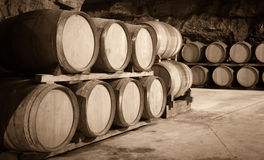Vintage toned photo  of  winery cellar Stock Photo