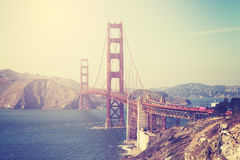 Vintage toned picture of the Golden Gate Bridge. In San Francisco, USA Royalty Free Stock Photos