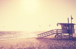 Vintage toned picture of lifeguard tower at sunset, Malibu. Vintage toned picture of lifeguard tower at sunset, Malibu, USA Royalty Free Stock Image