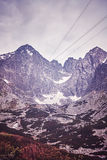 Vintage toned picture of Lomnicky Peak in the Tatras, Slovakia. Stock Photos
