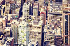 Vintage toned picture of New York City, USA. Vintage toned picture of the Manhattan from above, New York City, USA Royalty Free Stock Images
