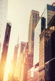 Vintage toned picture of Manhattan at sunset. royalty free stock images