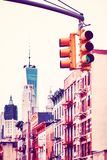 Vintage toned picture of New York City traffic lights. Vintage toned picture of New York City traffic lights, selective focus, USA Royalty Free Stock Photo
