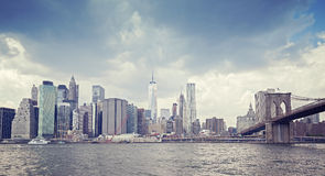 Vintage toned picture of New York waterfront before rain. Royalty Free Stock Photo