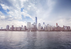 Vintage toned picture of New York waterfront before rain, USA Stock Photo