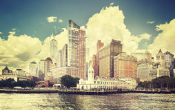 Vintage toned picture of New York waterfront. Vintage toned picture of New York waterfront, USA Royalty Free Stock Images