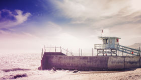 Free Vintage Toned Picture Of Lifeguard Tower At Sunset, California. Stock Photography - 67271552