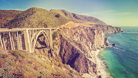 Vintage toned picture of the Pacific Coast Highway, USA. Royalty Free Stock Image