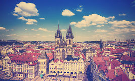 Vintage toned picture of Prague. Royalty Free Stock Image