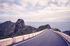 Vintage toned picture of a scenic road. Travel concept, Tenerife, Spain royalty free stock photography