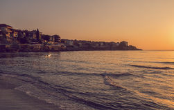 Vintage toned picture of sunrise in Sozopol, Bulgaria Royalty Free Stock Image