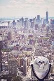 Tourist binoculars pointing at Manhattan skyline, New York. Stock Photography