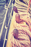 Vintage toned rigging of an old sailing ship. Royalty Free Stock Photo