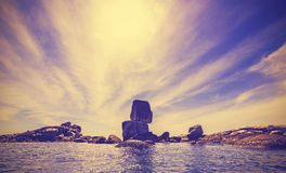 Vintage toned rocky island in Thailand. Royalty Free Stock Image