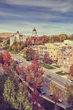 Vintage toned Salt Lake City downtown in autumn, USA. Vintage toned Salt Lake City downtown in autumn, Utah, USA Stock Photos
