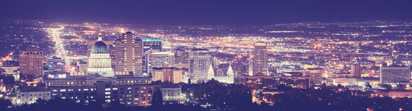 Vintage toned Salt Lake City downtown night panorama. Vintage toned Salt Lake City downtown night panorama, Utah, USA Royalty Free Stock Photo