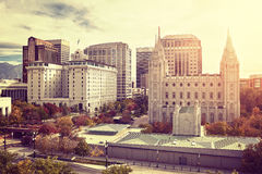 Vintage toned Salt Lake City downtown at sunset, USA. Vintage toned Salt Lake City downtown at sunset, Utah, USA Royalty Free Stock Photos