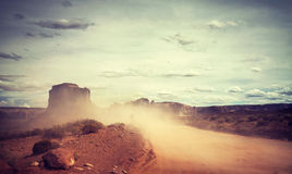 Vintage toned sandstorm over Monument Valley, USA. Royalty Free Stock Photo