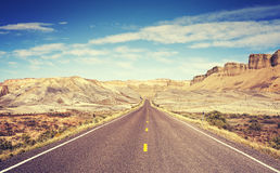 Vintage toned scenic road, Utah, USA Royalty Free Stock Photos